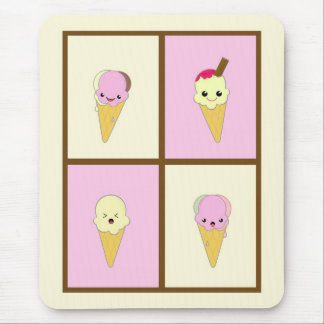 Kawaii Ice Cream Cones in Pink and Cream Mouse Pad