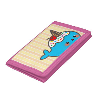 Kawaii Ice Cream Narwhal Trifold Wallet