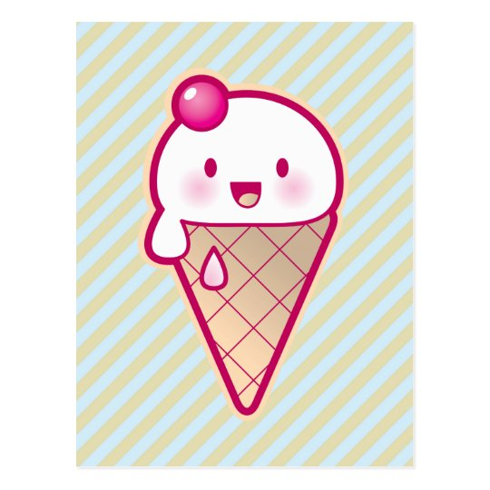 Kawaii Ice Cream Postcard