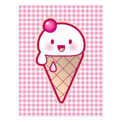 Kawaii Ice Cream Postcard