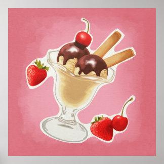 Kawaii ice-cream poster