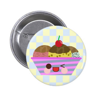Kawaii Ice Cream Sundae Flavors Delicious Checks Pinback Button