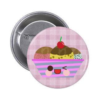 Kawaii Ice Cream Sundae Flavors Delicious Plaid Pinback Button