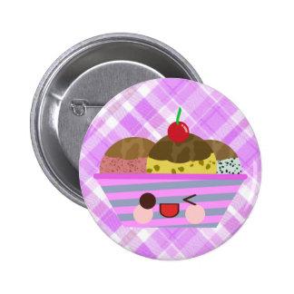 Kawaii Ice Cream Sundae Flavors Delicious Plaid Buttons