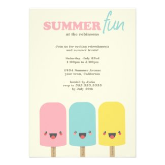Kawaii Ice Lolly Trio Summer Party Invitations