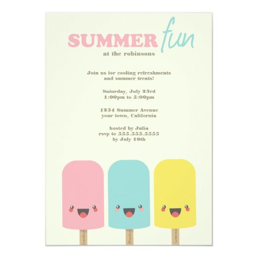 "Kawaii Ice Lolly Trio Summer Party Invitations 5"" X 7"" Invitation Card"