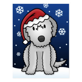 Kawaii Irish Wolfhound Christmas Postcard