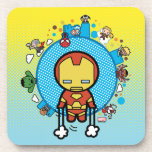Kawaii Iron Man With Marvel Heroes on Globe Beverage Coaster