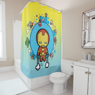 Kawaii Iron Man With Marvel Heroes On Globe Shower Curtain