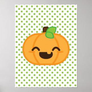 Kawaii Jack O Lantern Pumpkin Poster Print