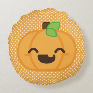 Kawaii Jack O Lantern Pumpkin Round Pillow