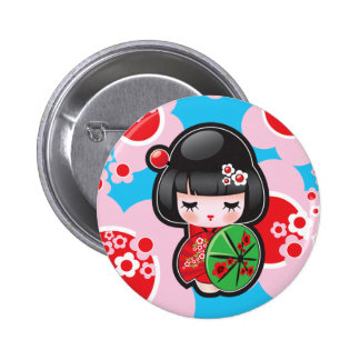 Kawaii Japanese Doll Button