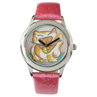 Kawaii Japanese Lucky Cat Art Wristwatches