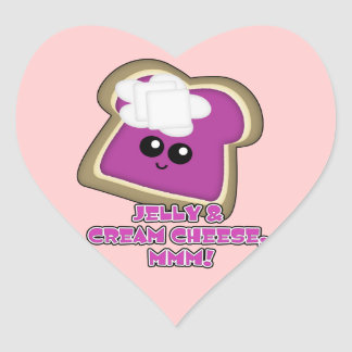 Kawaii Jelly and Cream Cheese Toast Heart Sticker