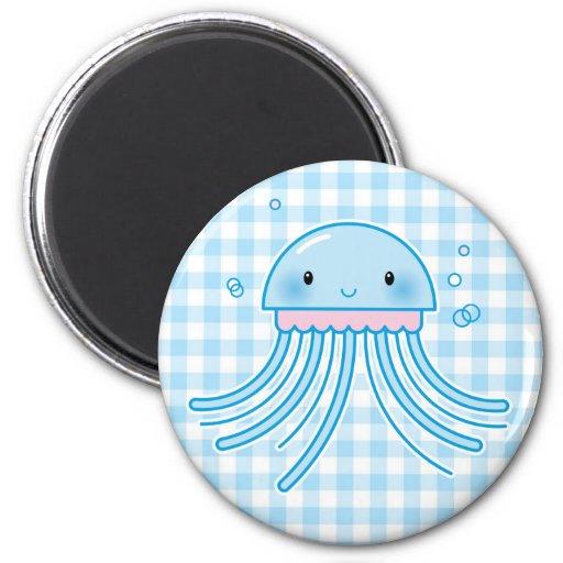 Kawaii jellyfish 2 inch round magnet