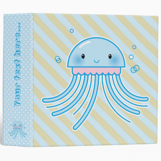 Kawaii jellyfish 3 ring binder