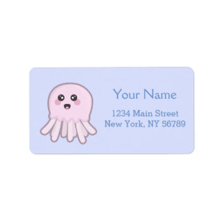 Kawaii Jellyfish Label