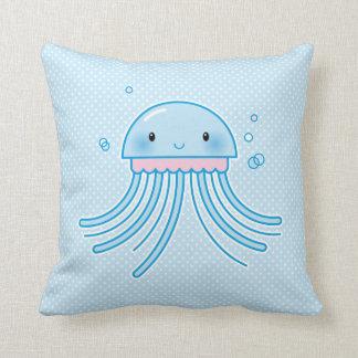 Kawaii jellyfish throw pillow