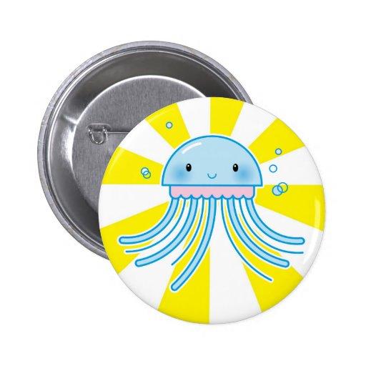 Kawaii jellyfish pinback buttons