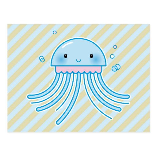 Kawaii jellyfish postcard