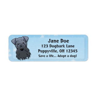 Kawaii Kerry Blue Terrier Label