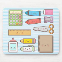 Kawaii Kids Back to School Supplies Mouse Pad
