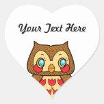Kawaii kitsch vintage owl heart sticker