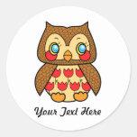 Kawaii kitsch vintage owl round stickers