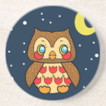 Kawaii kitsch vintage owl starry night coaster