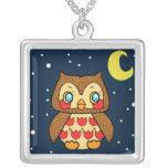 Kawaii kitsch vintage owl starry night necklace