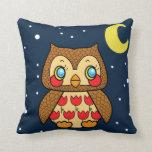 Kawaii kitsch vintage starry night owl throw pillows