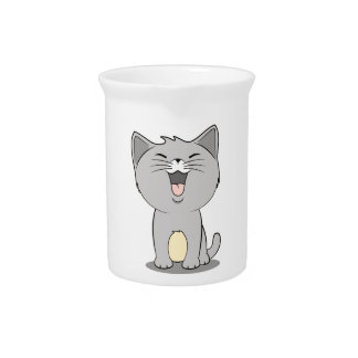 Kawaii kitten grey pitcher