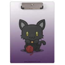 Kawaii Kitty (Black) Clipboard