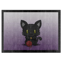 Kawaii Kitty (Black) Cutting Board
