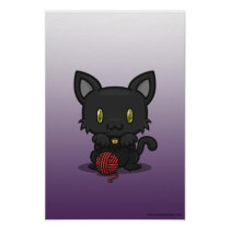 Kawaii Kitty (Black) Poster