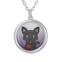 Kawaii Kitty (Black) Silver Necklace
