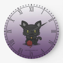 Kawaii Kitty (Black) Wallclock