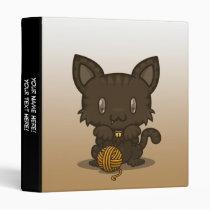 "Kawaii Kitty (Brown Striped) 1"" Binder"