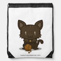 Kawaii Kitty (Brown Striped) Drawstring Backpack