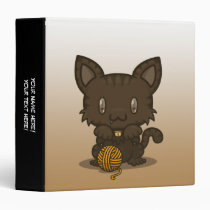 "Kawaii Kitty (Brown Striped) 1.5"" Binder"