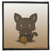 Kawaii Kitty (Brown Striped) Napkins (4x)