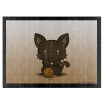 Kawaii Kitty (Brown Striped) Cutting Board