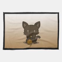Kawaii Kitty (Brown Striped) Kitchen Towels (3x)