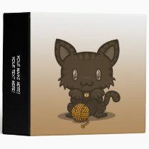 "Kawaii Kitty (Brown Striped) 2"" Binder"