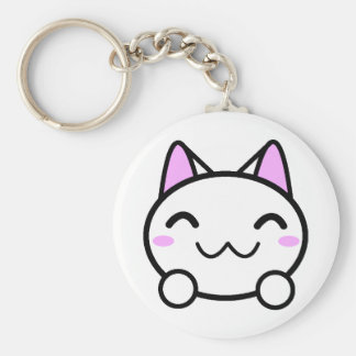 Kawaii Kitty Button Keychain