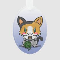 Kawaii Kitty (Calico) Oval Acrylic Ornament