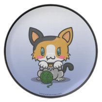 Kawaii Kitty (Calico) Plate