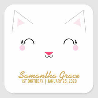 kawaii kitty CAT BIRTHDAY party favor sticker