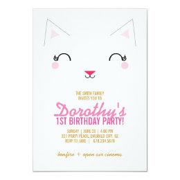 kawaii kitty CAT BIRTHDAY party invitation