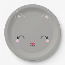 kawaii kitty CAT BIRTHDAY party plate GRAY